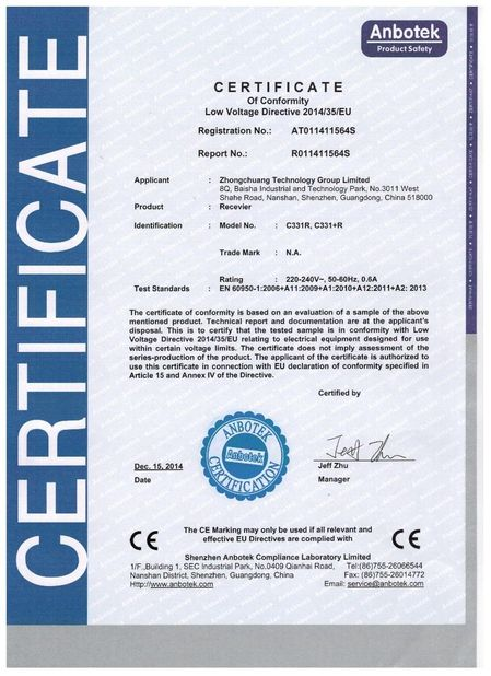 China Zhongchuang Technology Group Limited certification